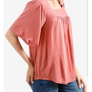 Lucky Brand Pink Shadow Stripe Square Neck Top S